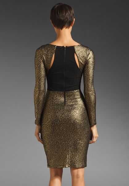 Alice Olivia Selma Open Back Fitted Dress In Brown Gold
