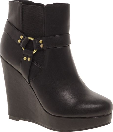 asos asos alarm wedge chelsea ankle boots in black lyst