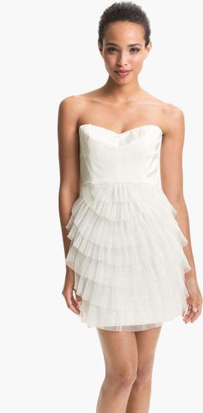 Bcbgmaxazria Strapless Mesh Tier Satin Dress in White (gardenia)