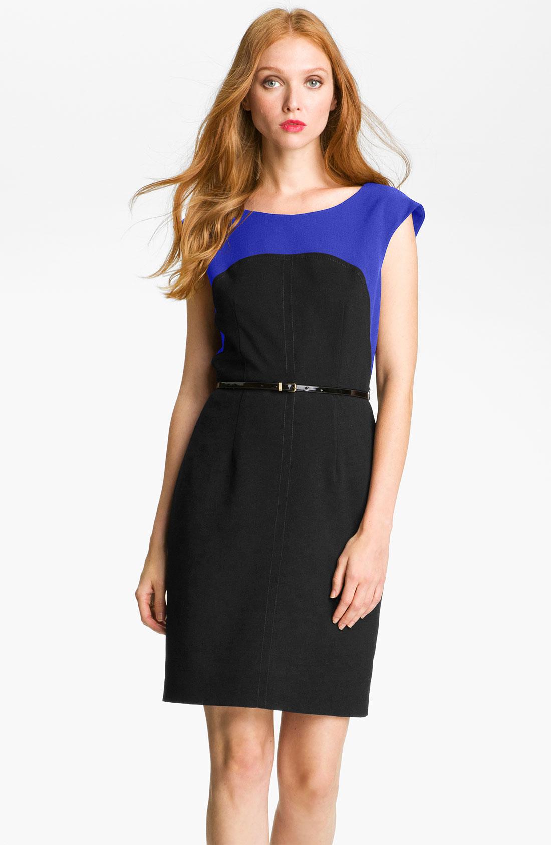 calvin klein colorblock belted sheath dress in blue