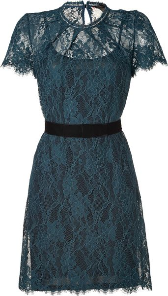 Collette Dinnigan Teal Floral Lace Short Sleeve Dress in ...