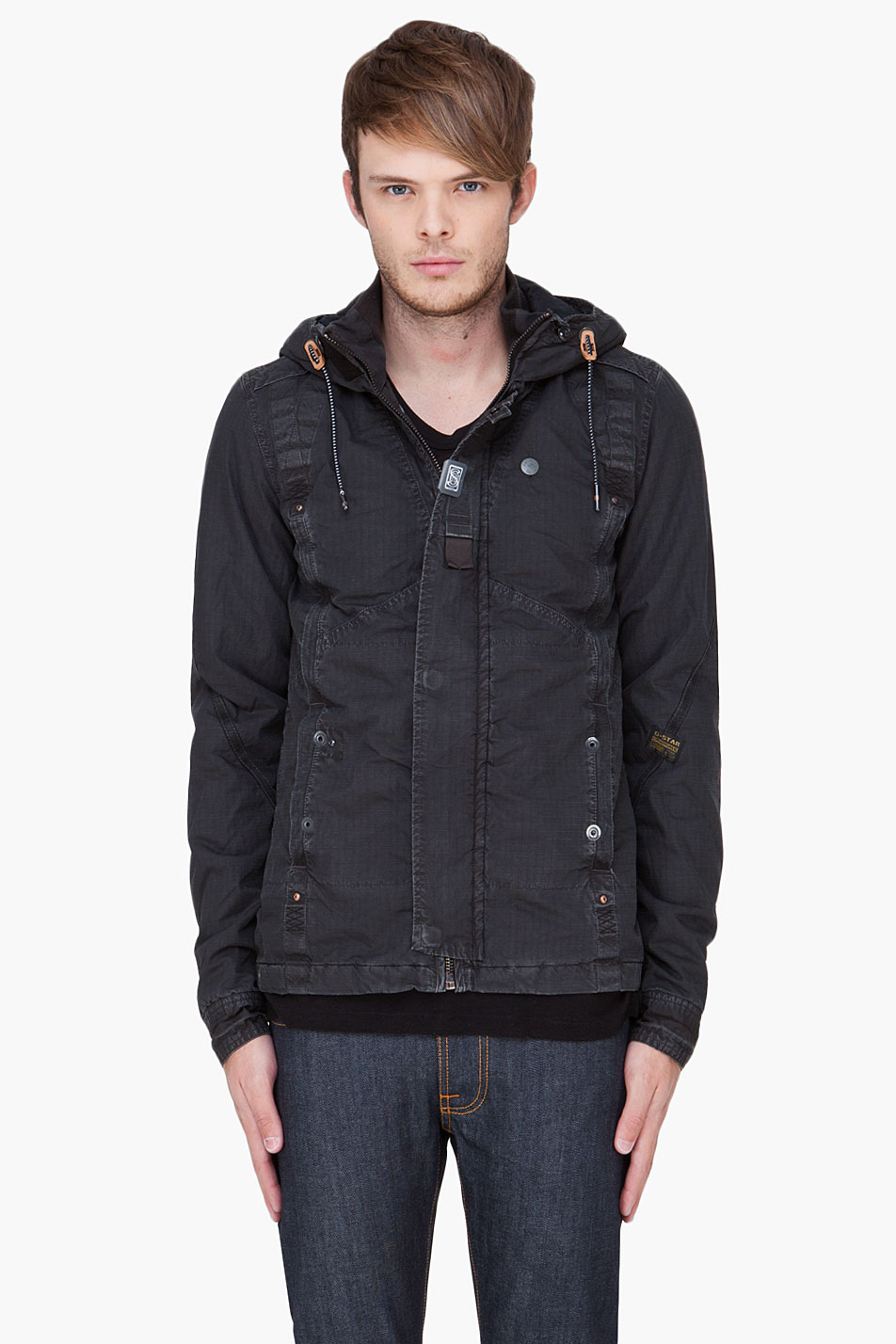 g star raw charcoal co recolite hooded jacket in gray for. Black Bedroom Furniture Sets. Home Design Ideas