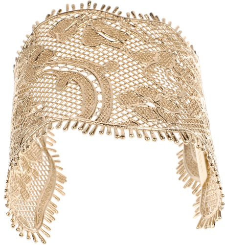 Givenchy Lace Cuff in Golden Brass Metal in Gold (black) - Lyst