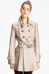 Kenneth Cole Double Breasted Skirted Trench - Lyst