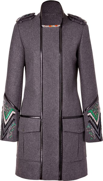 Matthew Williamson Greymulti Embroidered Leather Piped Military Coat - Lyst