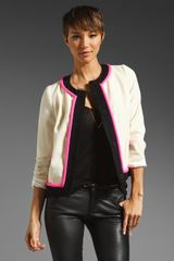 Milly Satin Brushed Wool Alice Jacket in Ivoryblackshocking Pink - Lyst