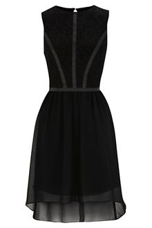 Oasis Oasis Lace and Pu Dip Hem Dress Black - Lyst