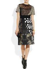 Preen Morelle Lace and Printed Stretchjersey Dress in Black - Lyst