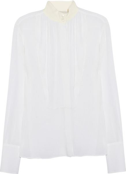 Stella Mccartney Emilia Seer sucker silk Shirt in White - Lyst