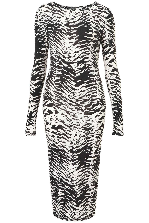 40afc3574a96 Lyst - TOPSHOP Animal Midi Bodycon Dress in Black