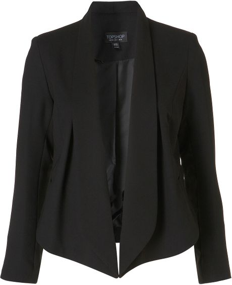 Topshop Seam Front Waterfall Jacket in Black - Lyst