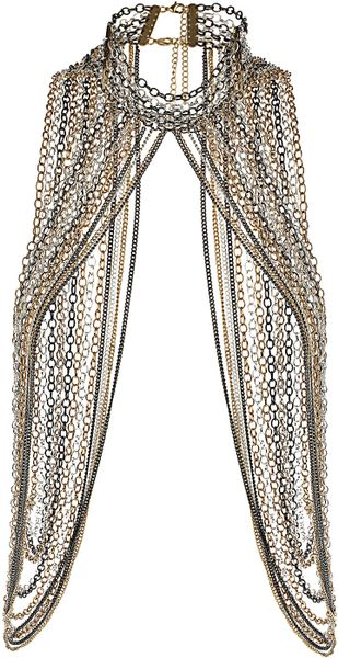 Topshop Maximum High Neck Necklace in Silver (mixed metal) - Lyst