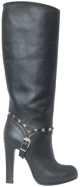 Valentino High Boots with Studs - Lyst