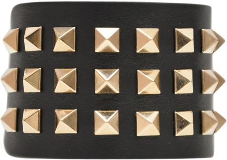 Valentino High Rock Stud Bracelet in Black - Lyst