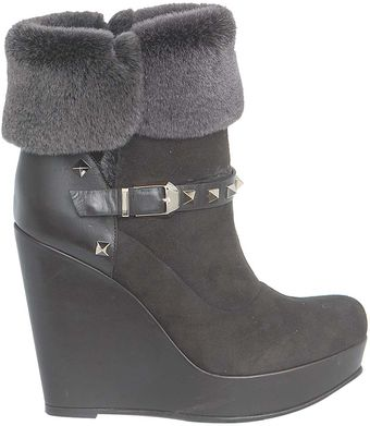 Valentino Rock Stud Leather and Suede Boots - Lyst