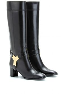 Yves Saint Laurent Leather Boots with Logo Plaque - Lyst