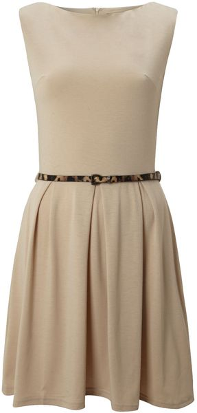 Ax Paris Belted Skater Dress - Lyst