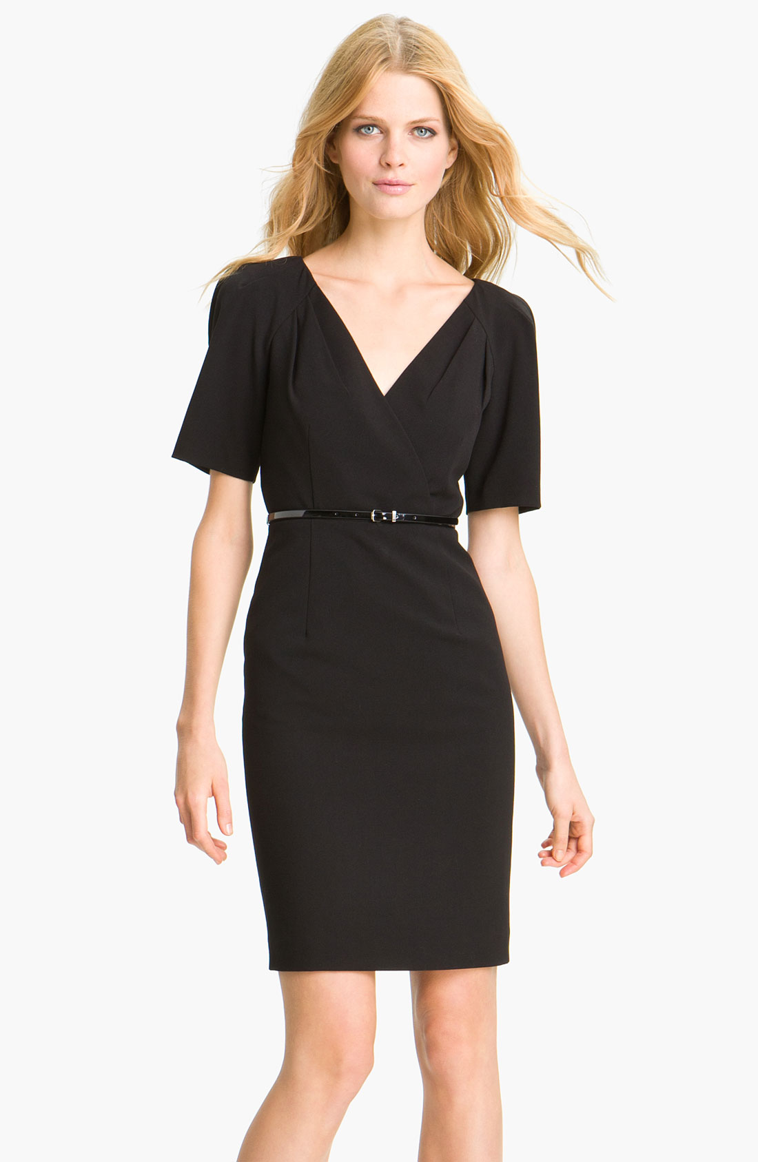 calvin klein belted surplice woven sheath dress in black