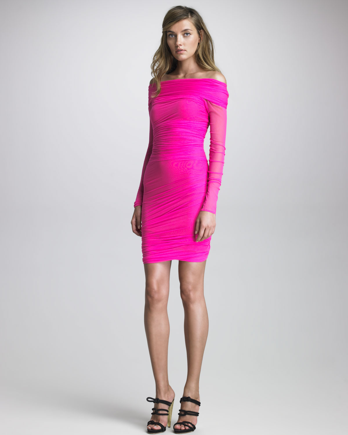 Dsquared² Ruched Cocktail Dress in Pink | Lyst