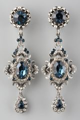 Jose & Maria Barrera Blue Crystal Clip Earrings - Lyst