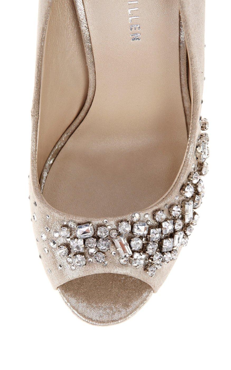 df78537f46 Karen Millen Mixed Jewel Encrusted Peep in Metallic - Lyst