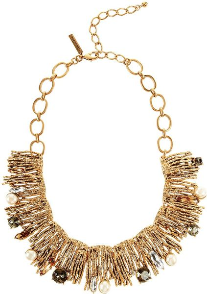 Oscar De La Renta Crystal Branch Necklace in Gold (black ivory) - Lyst