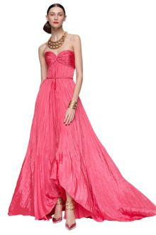 Oscar de la Renta Pleated Sweetheart Gown - Lyst