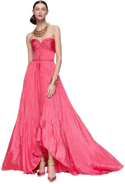 Oscar De La Renta Pleated Sweetheart Gown in Pink (coral) - Lyst
