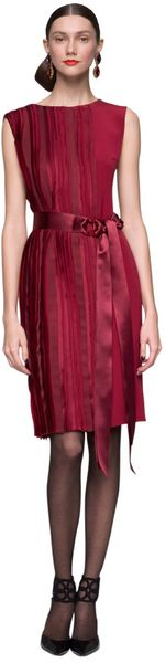 Oscar De La Renta Panel Sleeveless Dress in Red (garnet)