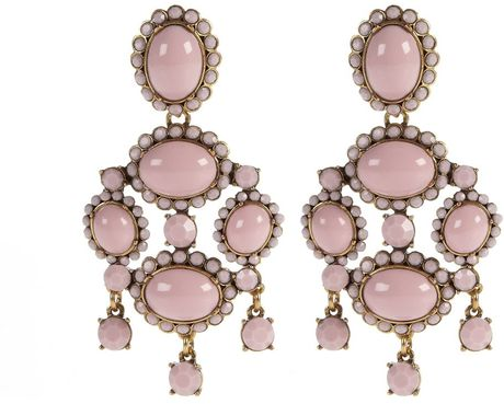 Oscar De La Renta Opaque Cabochon Drop Earrings in Pink - Lyst