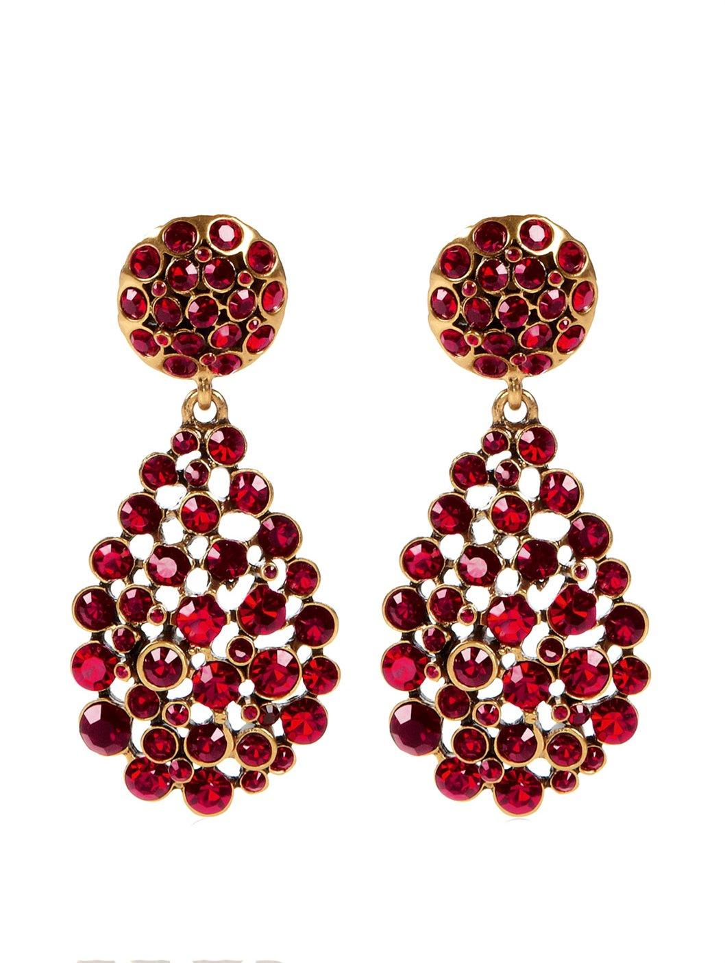 Lyst Oscar De La Renta Large Teardrop Earring In Red