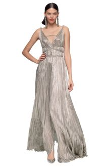 Oscar de la Renta Lame Pleated Goddess Gown - Lyst