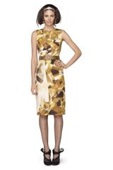 Oscar de la Renta Gemstone Printed Silk Faille Dress - Lyst