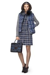 Oscar De La Renta Tweed Sleeveless Roll Neck Dress in Blue - Lyst