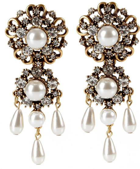 Oscar De La Renta Baroque Drop Earrings in Gold (white) - Lyst