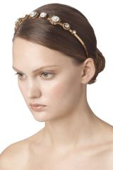 Oscar De La Renta Jeweled Headband in White - Lyst