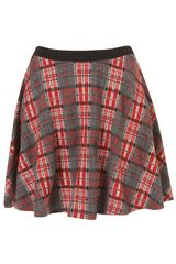 Topshop Red Check Skater Skirt - Lyst
