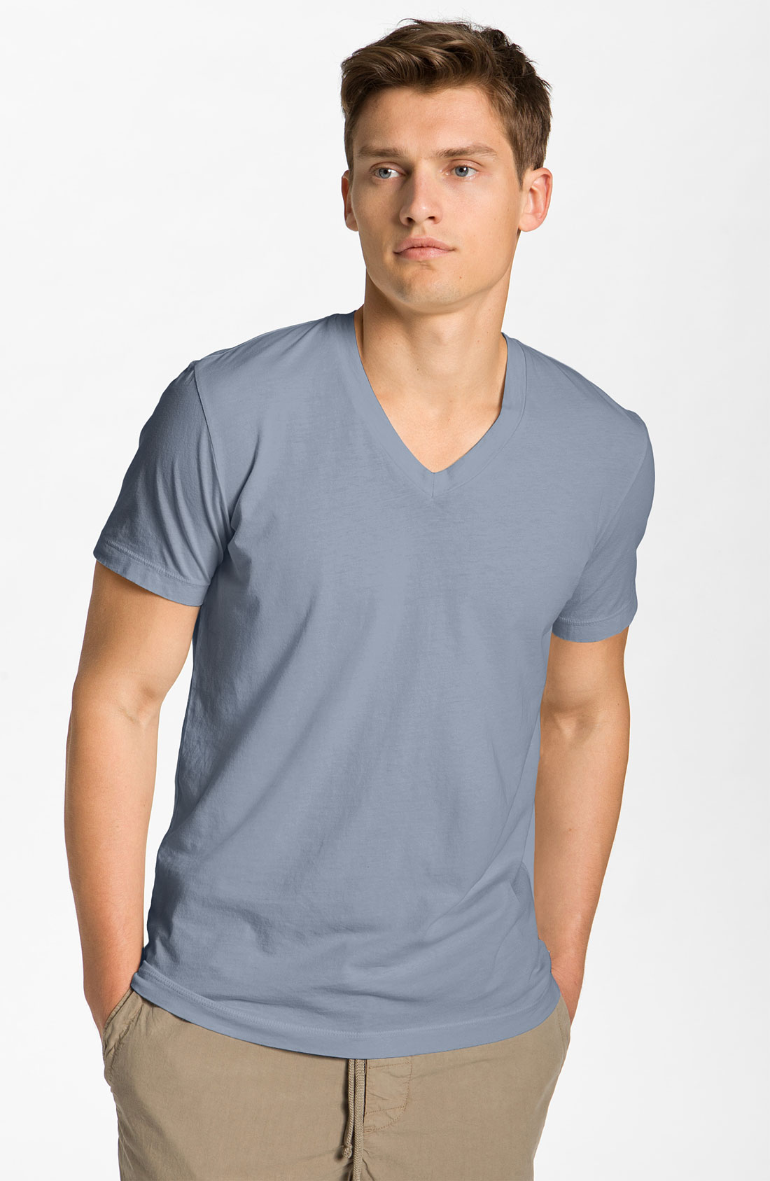 James perse jersey vneck tshirt in blue for men north for James perse t shirts sale