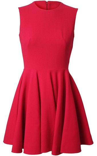 Alexander McQueen Stretch Crepe Wool Fluted Dress - Lyst