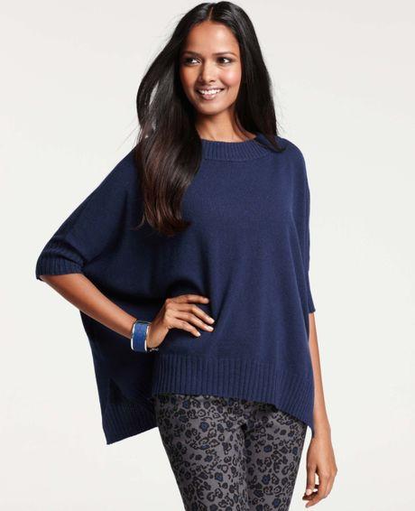 Ann Taylor Merino Wool Blend Poncho Sweater In Blue