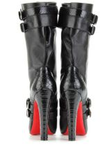 Christian Louboutin Loubi Bike 140 Snakeskindetailed Leather Boots in Red - Lyst