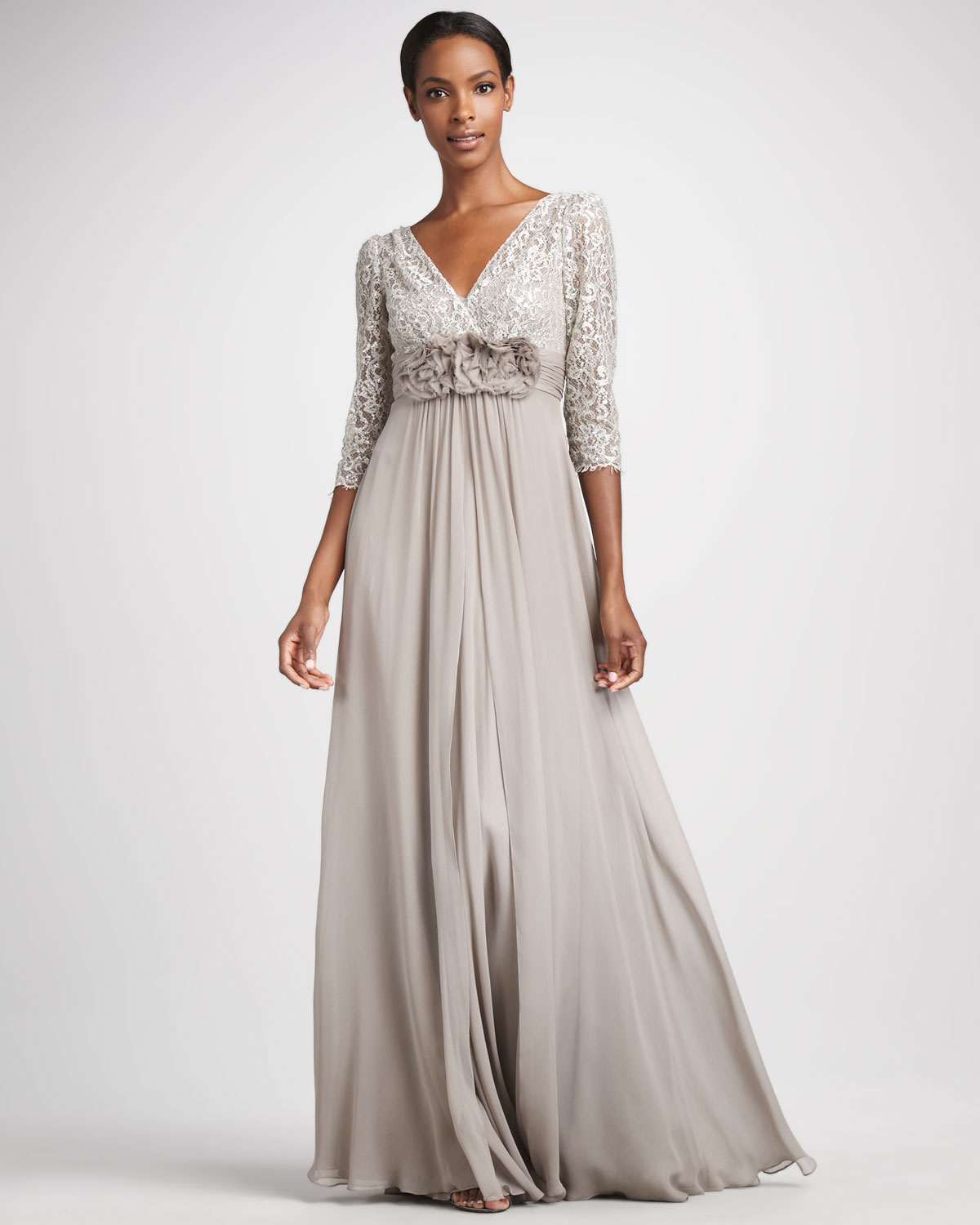 Teri jon Metallic Lace Chiffon Gown in Metallic | Lyst