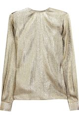 Stella Mccartney Wise Metallic Silkblend Top in Gold - Lyst