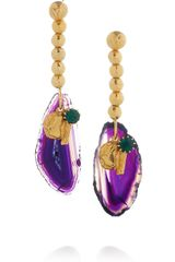 Yves Saint Laurent Chyc Goldplated Agate Earrings - Lyst