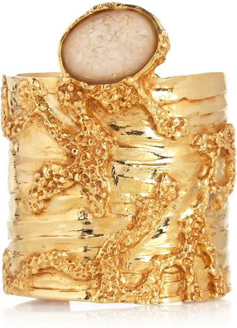 Saint Laurent Large Arty Goldplated Glass Cuff - Lyst