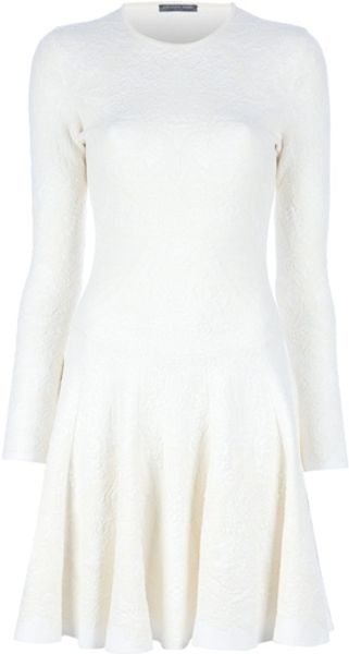 Alexander Mcqueen Pleated Dress in Beige (cream) - Lyst