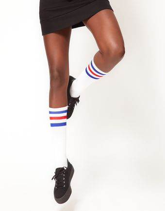 American Apparel Stripe Knee Socks - Lyst