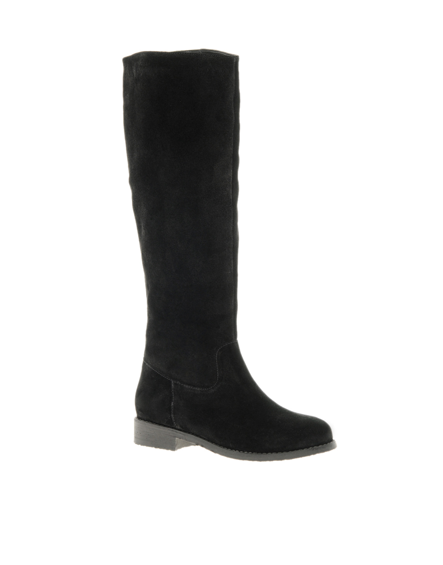 asos casanova suede knee high boots in black lyst