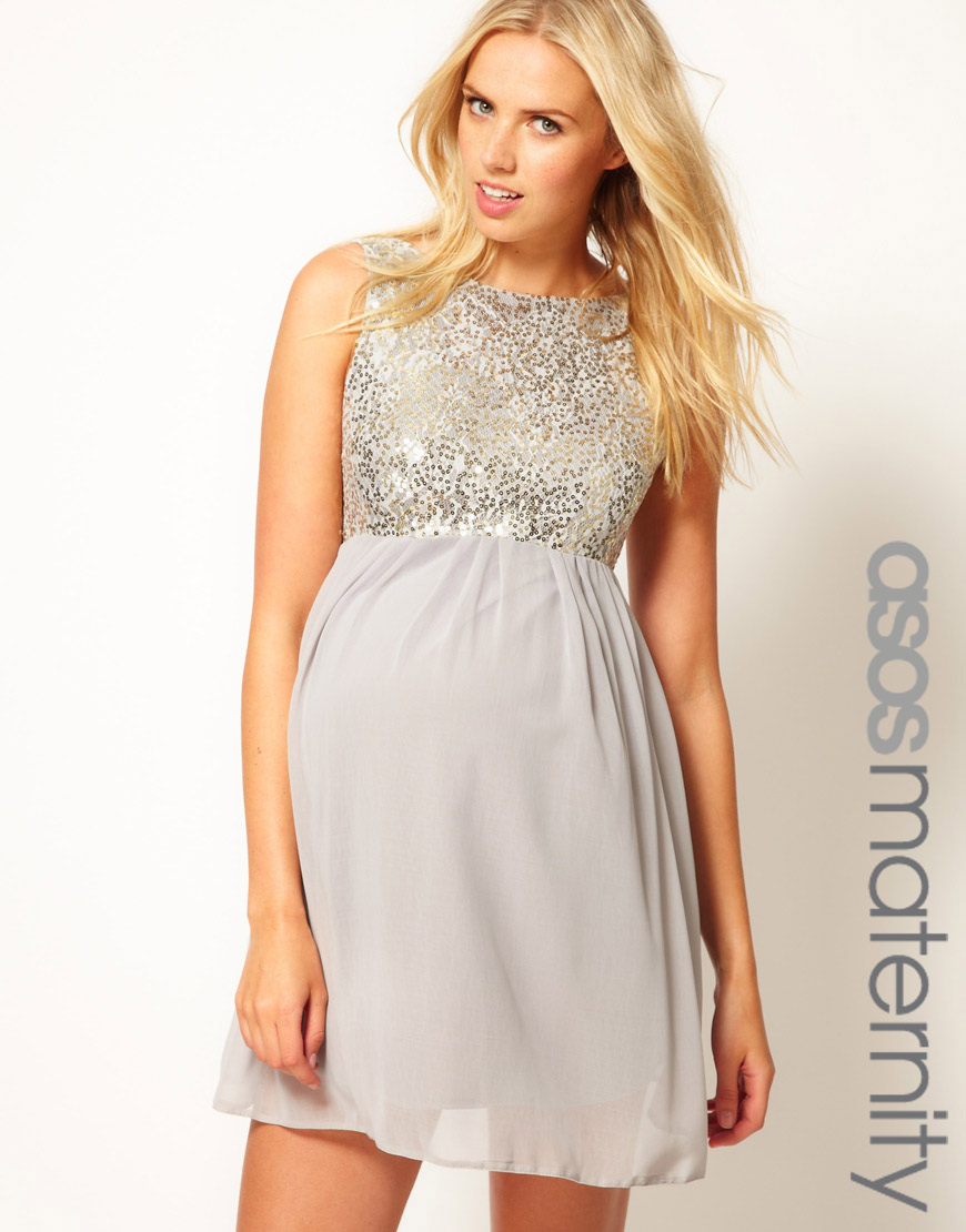 Lyst asos sequin and chiffon skater dress in gray gallery womens skater dresses ombrellifo Gallery