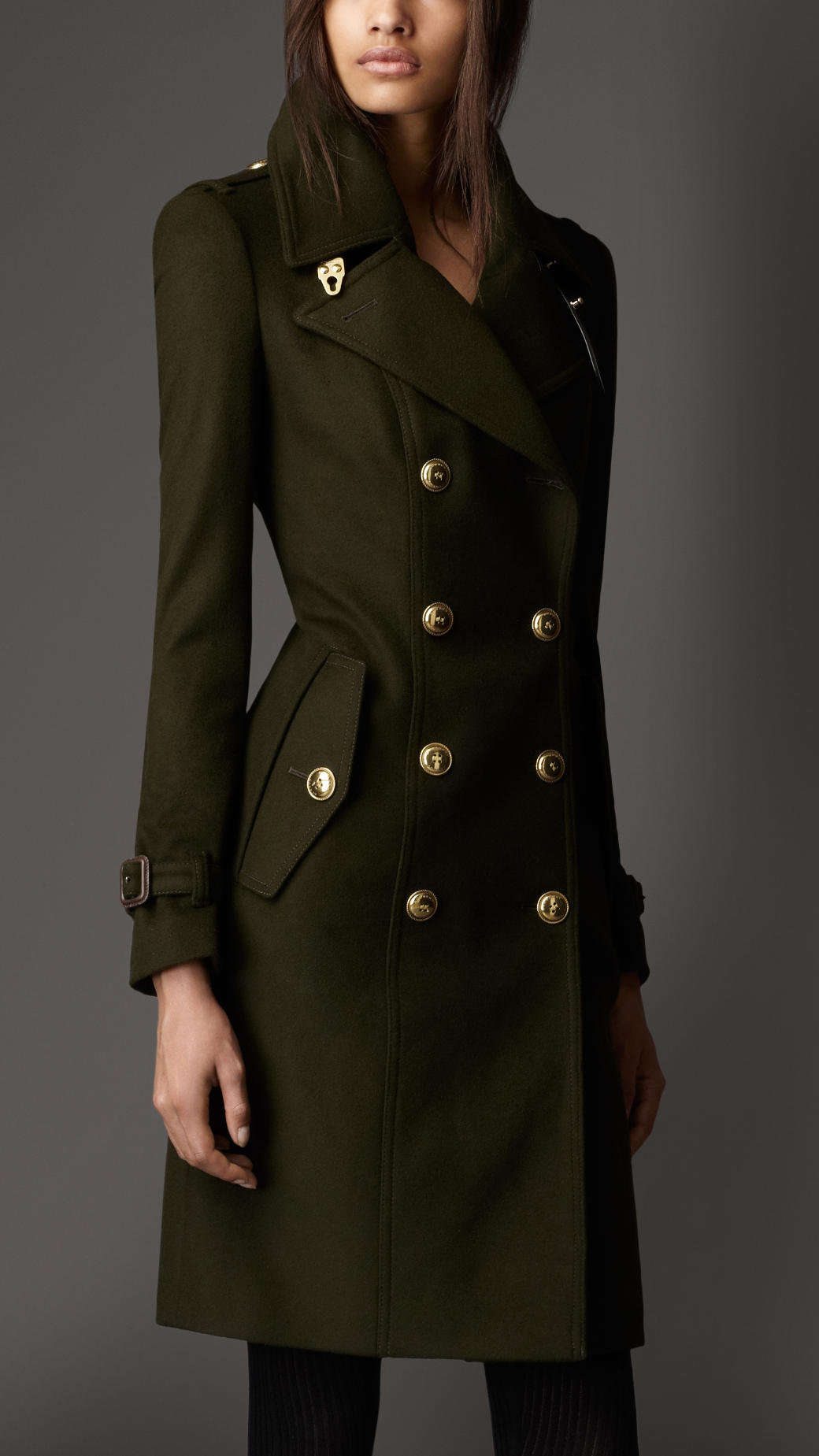Burberry Leather Detail Wool Trench Coat in Green | Lyst